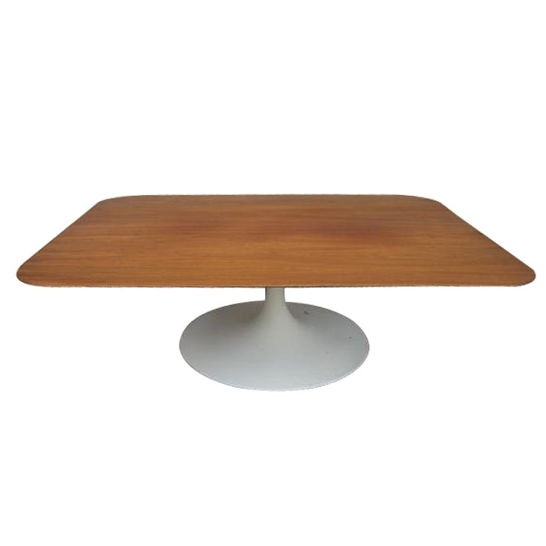 Lovely Walnut Rectangular Top Coffee Table Saarinen Style