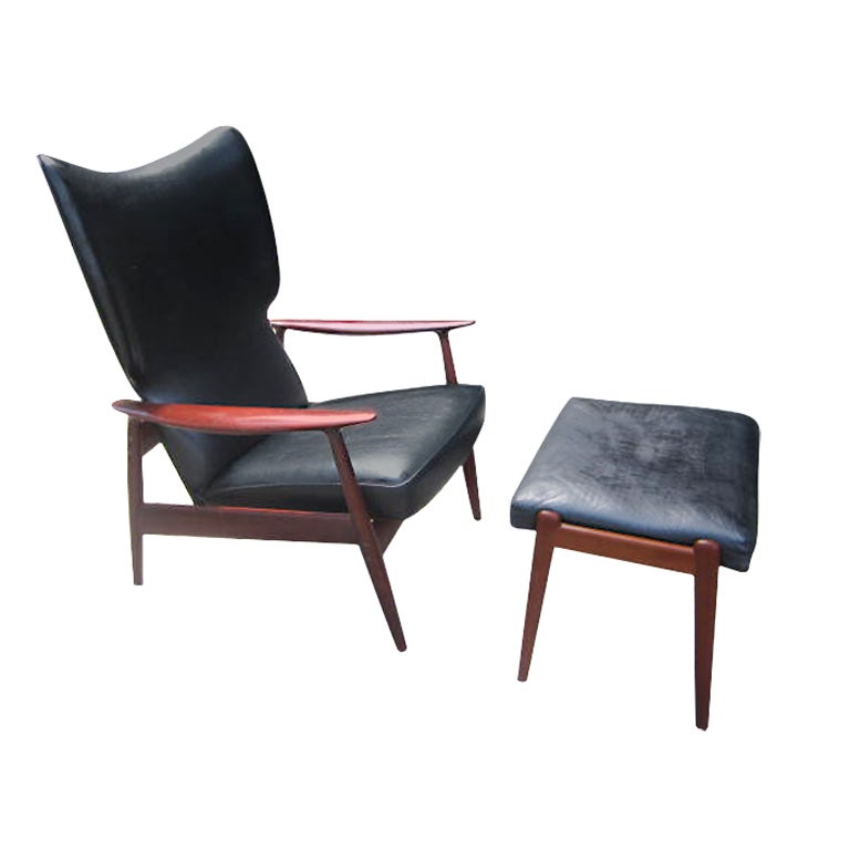 danish modern moreddi reclining teak lounge chair and ottoman at