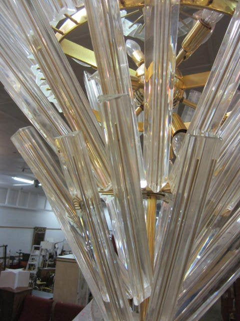 Outrageous and large Mid-Century Modern Camer glass five-tier starburst chandelier. This piece is very large and impressive and will be the centerpiece of your home.