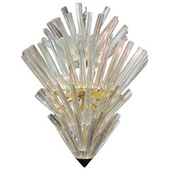 Murano Starburst Camer Glass Five-Tier Chandelier Mid-Century Modern
