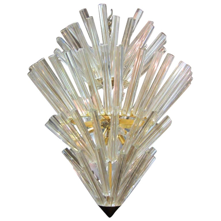Murano Starburst Camer Glass Five-Tier Chandelier Mid-Century Modern For Sale