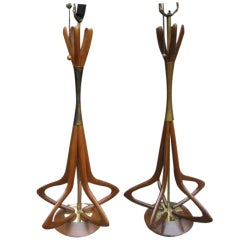 Amazing Pair Of Sculptural Walnut Tall Lamps Mid-century Danish