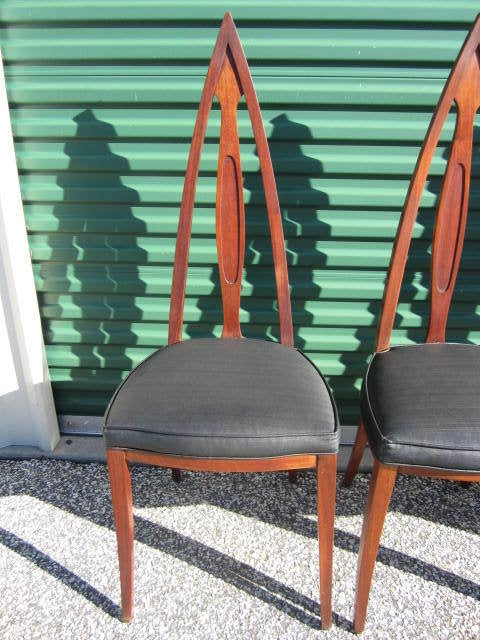 Set Of 4 Mid Century Modern Cathedral Style Walnut Dining