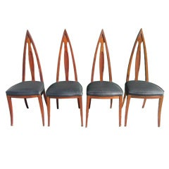 Set of 4 Mid Century Modern Cathedral Style Walnut Dining Chairs