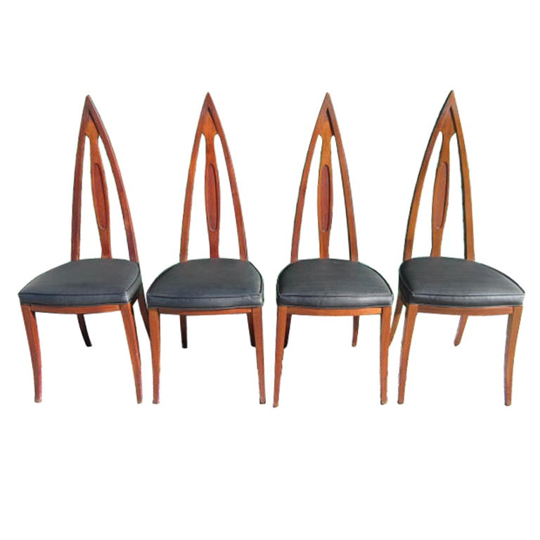 Set Of 4 Mid Century Modern Cathedral Style Walnut Dining Chairs For Sale