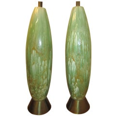 Amazing Pair of Tall Slender Ceramic Drip Glaze Lamps, Midcentury