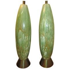 Amazing Pair of Tall Slender Ceramic Drip Glaze Lamps, Midcentury