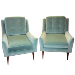 Gorgeous Pair Of McCobb-Style Velvet Lounge Chairs Mid-century