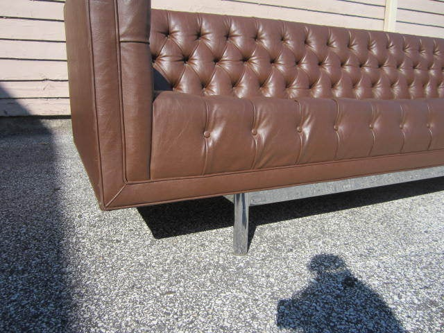Gorgeous Mid Century Modern Tufted And Chrome Sofa Milo