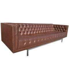 Gorgeous Mid-Century Modern Tufted and Chrome Sofa Milo Style