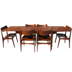 6 Funder Schmidt Madsen  Chairs  Teak Extension Table  Danish