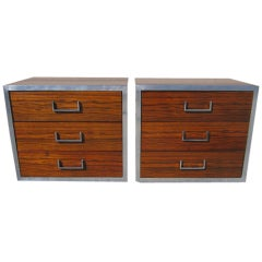 Two Milo Baughman Rosewood Chrome and Black Lacquer Nightstands