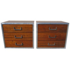 Two Milo Baughman Style Rosewood Chrome and Black Lacquer Nightstands