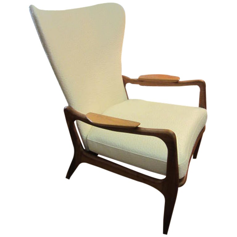 Adrian Pearsall Tall Wing Back Sculptural Walnut Lounge