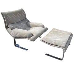 Saporiti Italia Onda Lounge Chair With Ottoman Mid-century