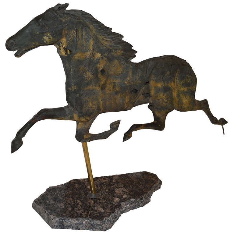Vintage Weather Vane: Shot-up And Vintage Horse Weathervane At 1stdibs