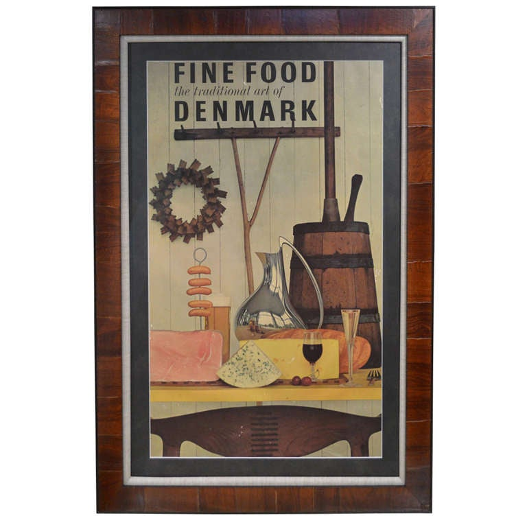 """Mid-Century Poster """"Fine Food the Traditional Art of Denmark"""""""