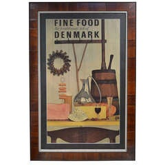 "Mid-Century Poster ""Fine Food the Traditional Art of Denmark"""