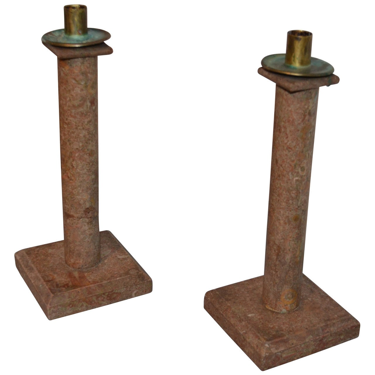 Swedish Pair Of 19th Century Marble Candlesticks
