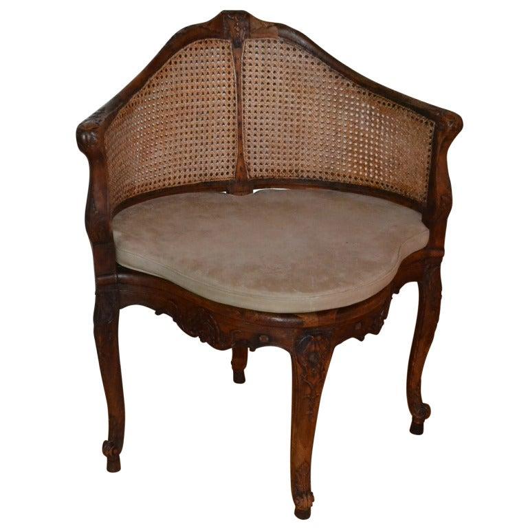 18th Century Walnut Corner Chair, France