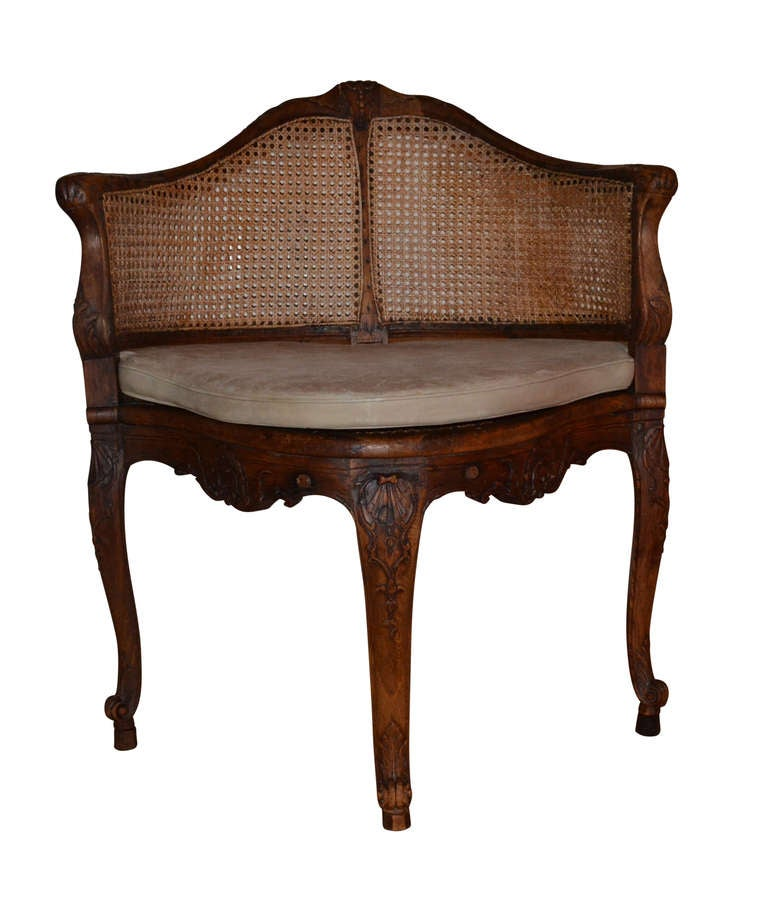 Louis XV French 18th Century Walnut Corner Cane Chair For Sale