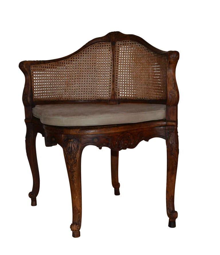Leather French 18th Century Walnut Corner Cane Chair For Sale