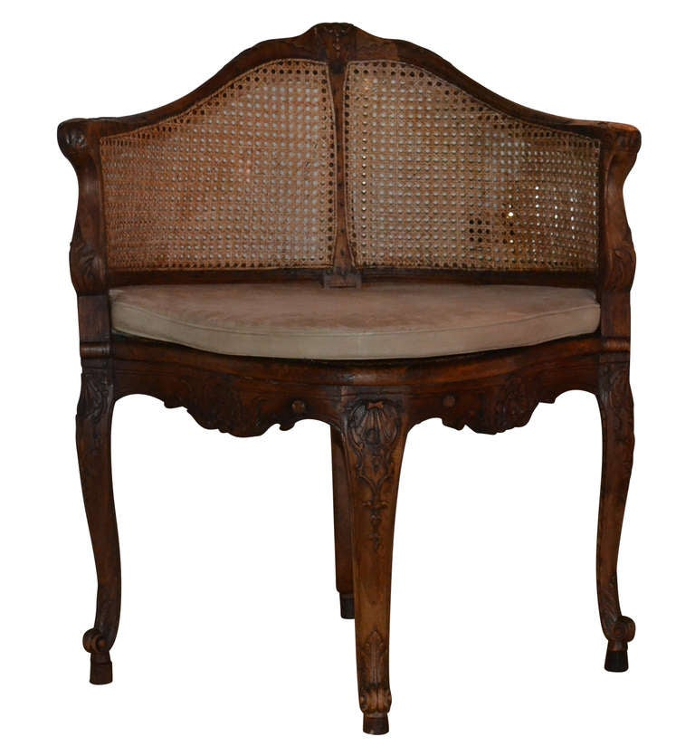 18th Century and Earlier French 18th Century Walnut Corner Cane Chair For Sale