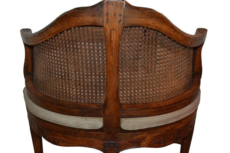 French 18th Century Walnut Corner Cane Chair For Sale 2
