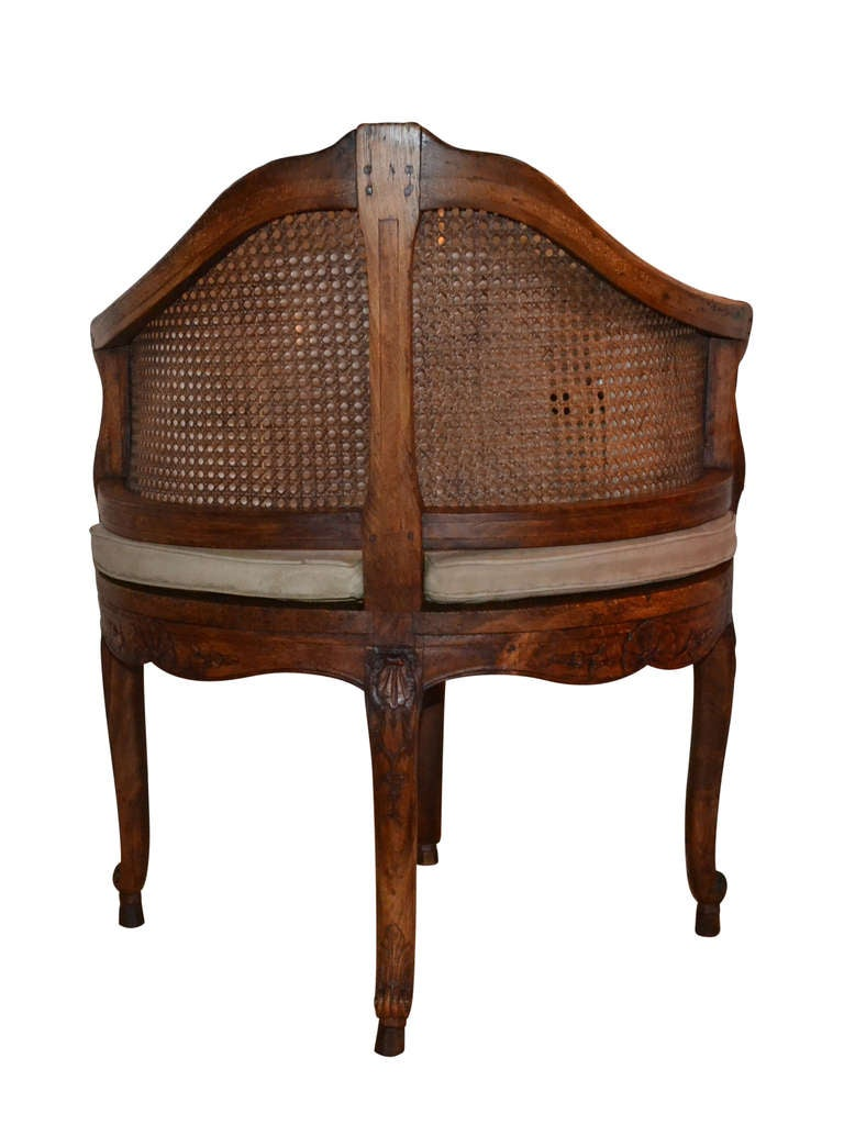 French 18th Century Walnut Corner Cane Chair For Sale 3