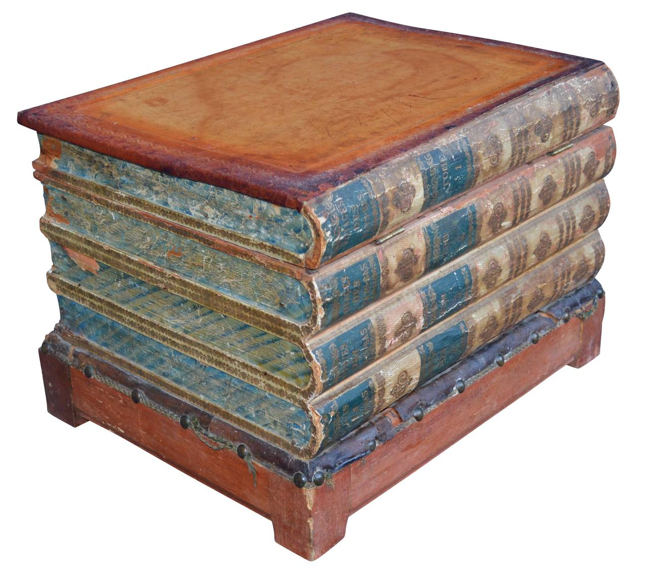 Folk Art 19th Century Book Side Table With Compartment For Sale