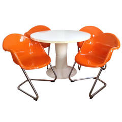 Orange Set of Four Haimi Chairs and Table