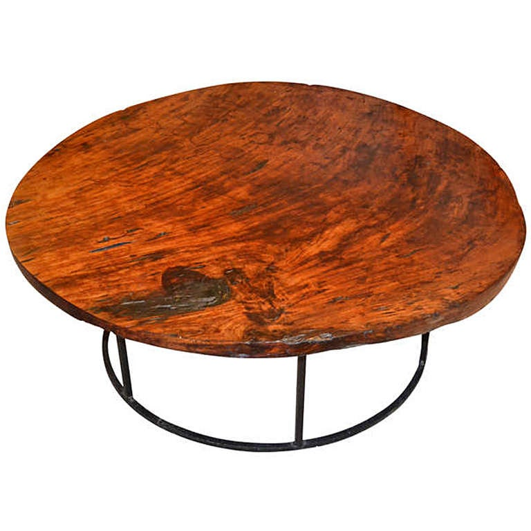 Large Round Coffee Table With Fissures At 1stdibs