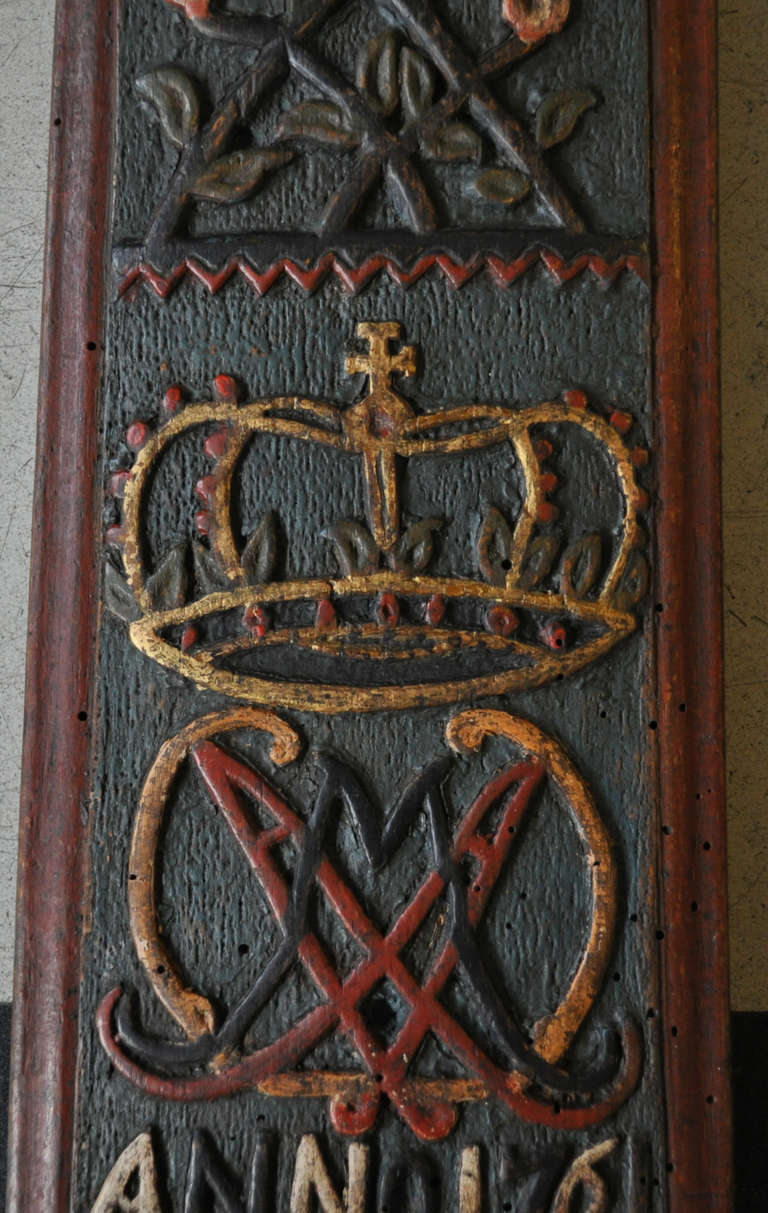 Folk Art Norwegian Mangle Board, 18th C.