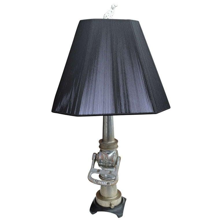 Vintage Fire Hose Nozzle Desk Lamp with Dalmatian Finial 1 - Vintage Fire Hose Nozzle Desk Lamp With Dalmatian Finial For Sale