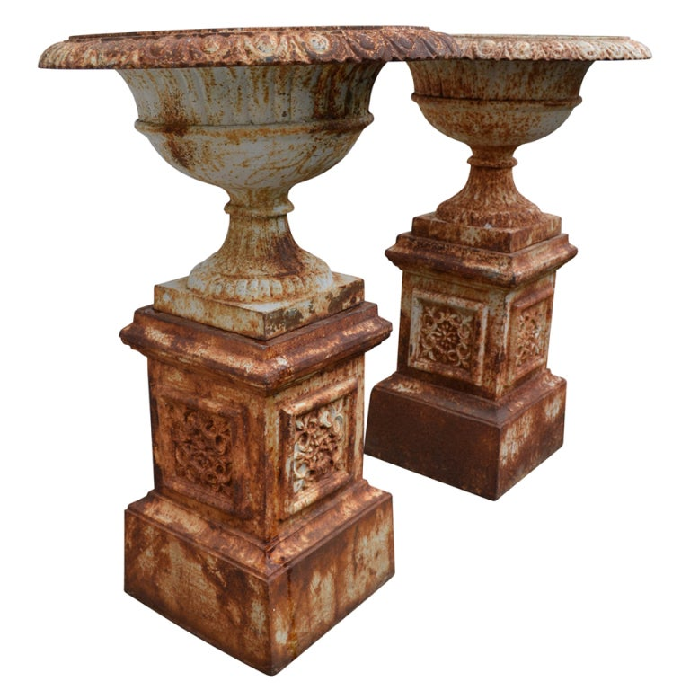 Pair of Large Tazza Garden Urns of Iron on Bases 19th C at 1stdibs