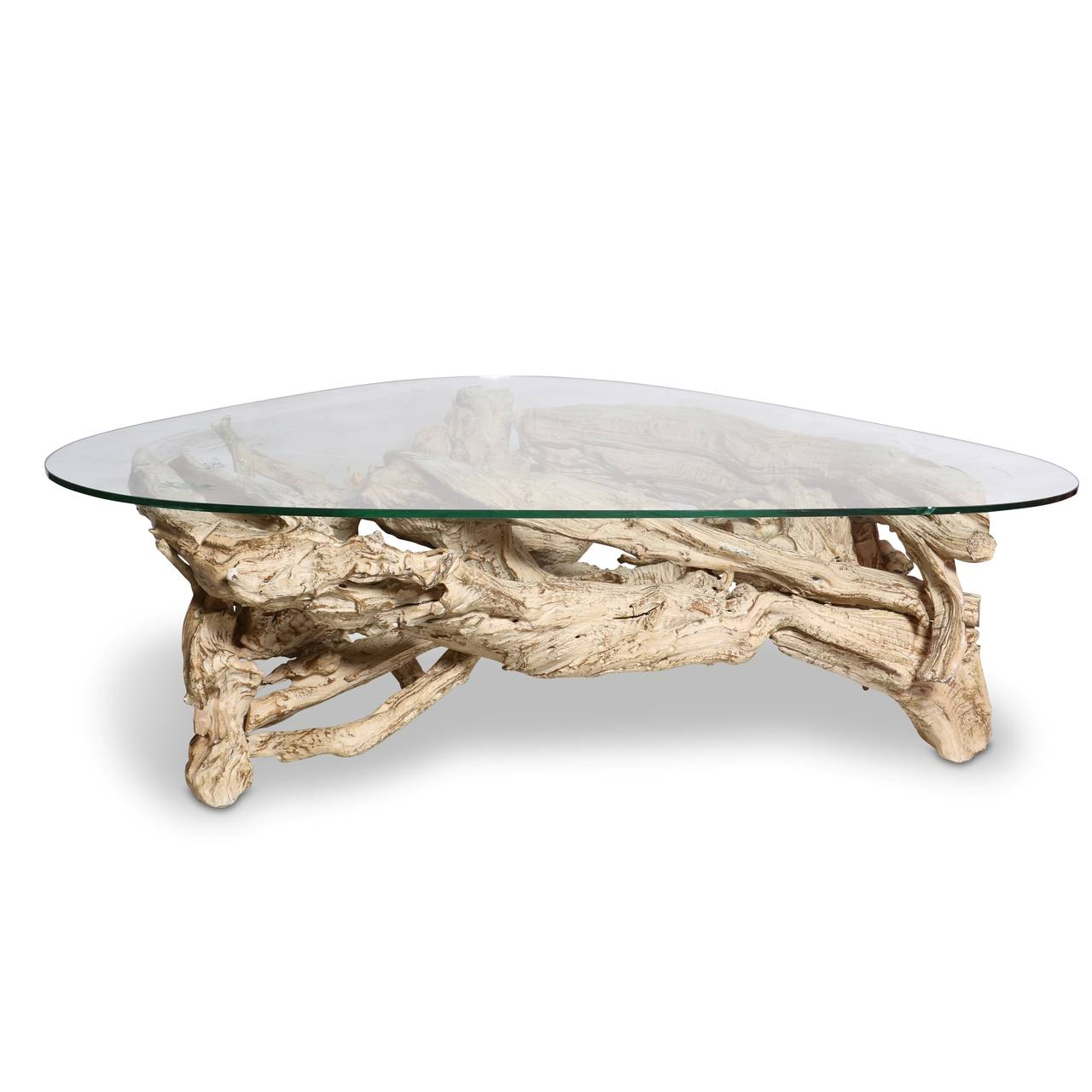 Mid Century Gesso Washed Driftwood Cocktail Table Circa 1950s At 1stdibs