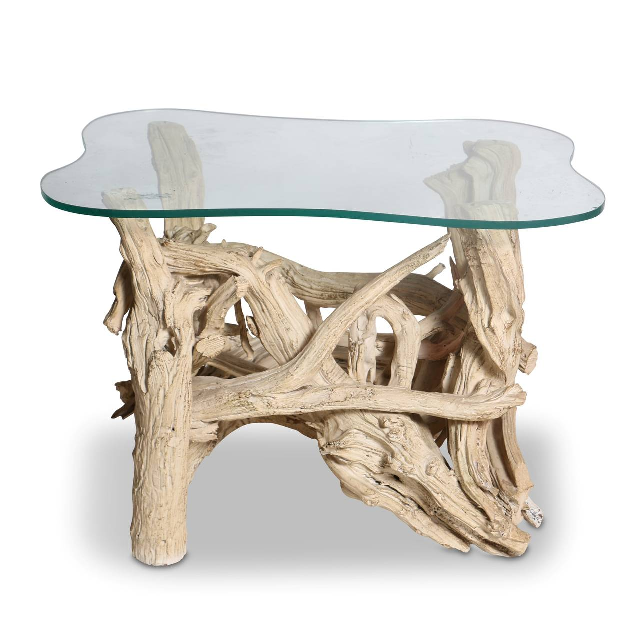 Driftwood End Table: Mid-Century Gesso Washed Driftwood End Table, Circa 1950s