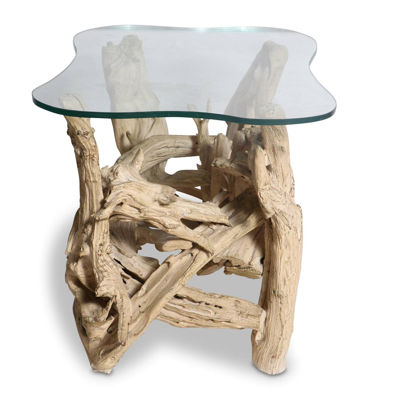 Mid Century Gesso Washed Driftwood End Table, Circa 1950s 3