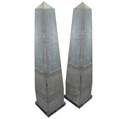 Pair of Large Mirrored Glass Obelisks