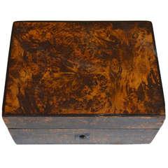 19th C Swedish Birch Wood Jewelry Box