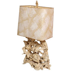Large 1950s Gesso Washed Driftwood Lamp