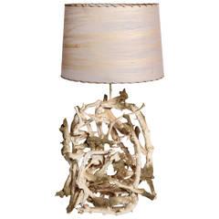 Large  Washed Driftwood Lamp