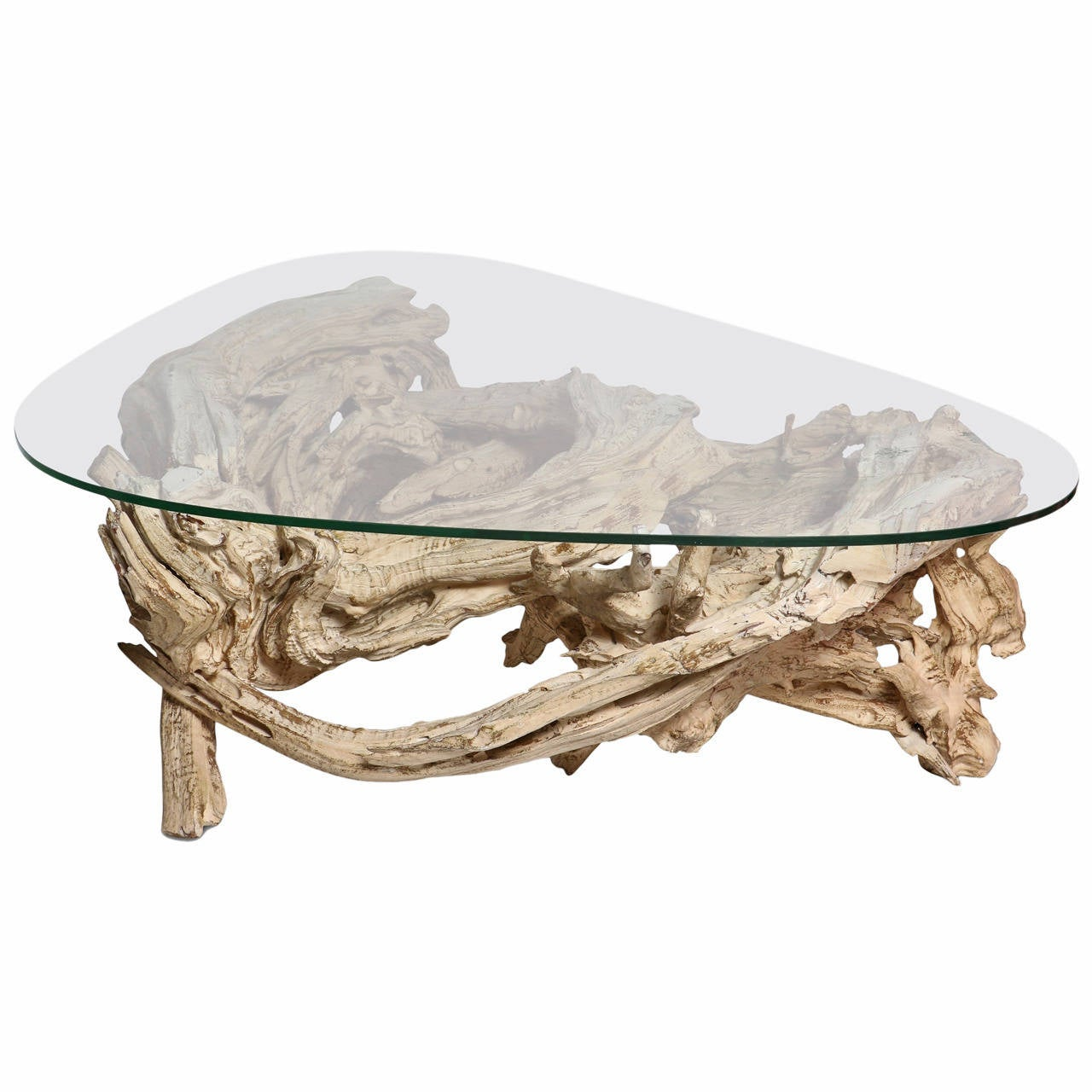 Mid Century Gesso Washed Driftwood Cocktail Table Circa 1950s
