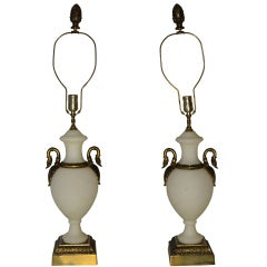 Pair of White Opaline Lamps with Bronze Swan Necks