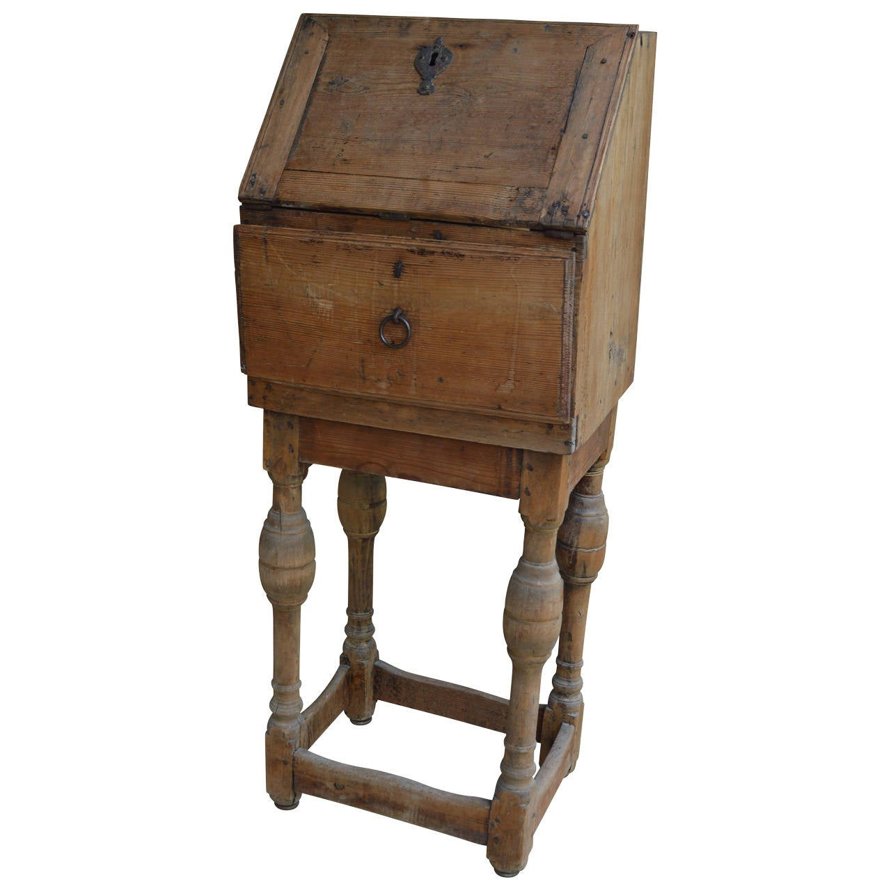 Small 18th Century Swedish Cabinet Or Drop Front Desk For