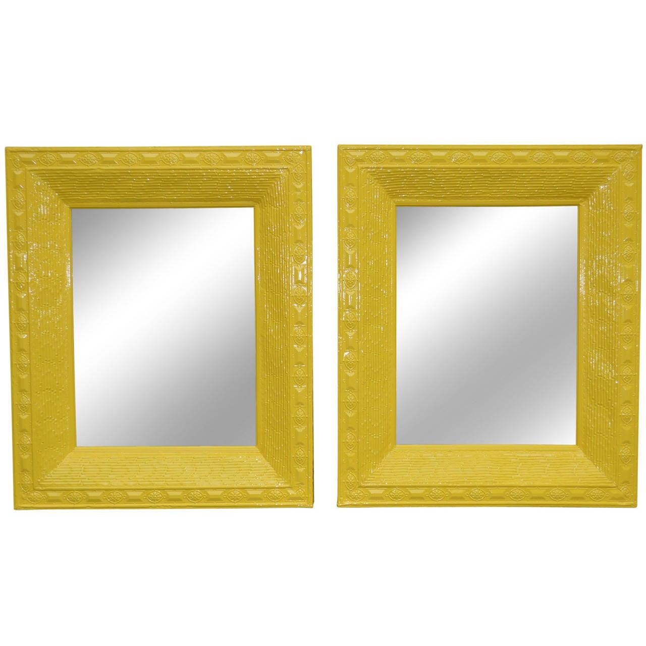 Large Metal Yellow Mirror At 1stdibs