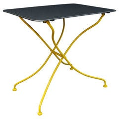 French Garden Table, Yellow with Gunmetal Top
