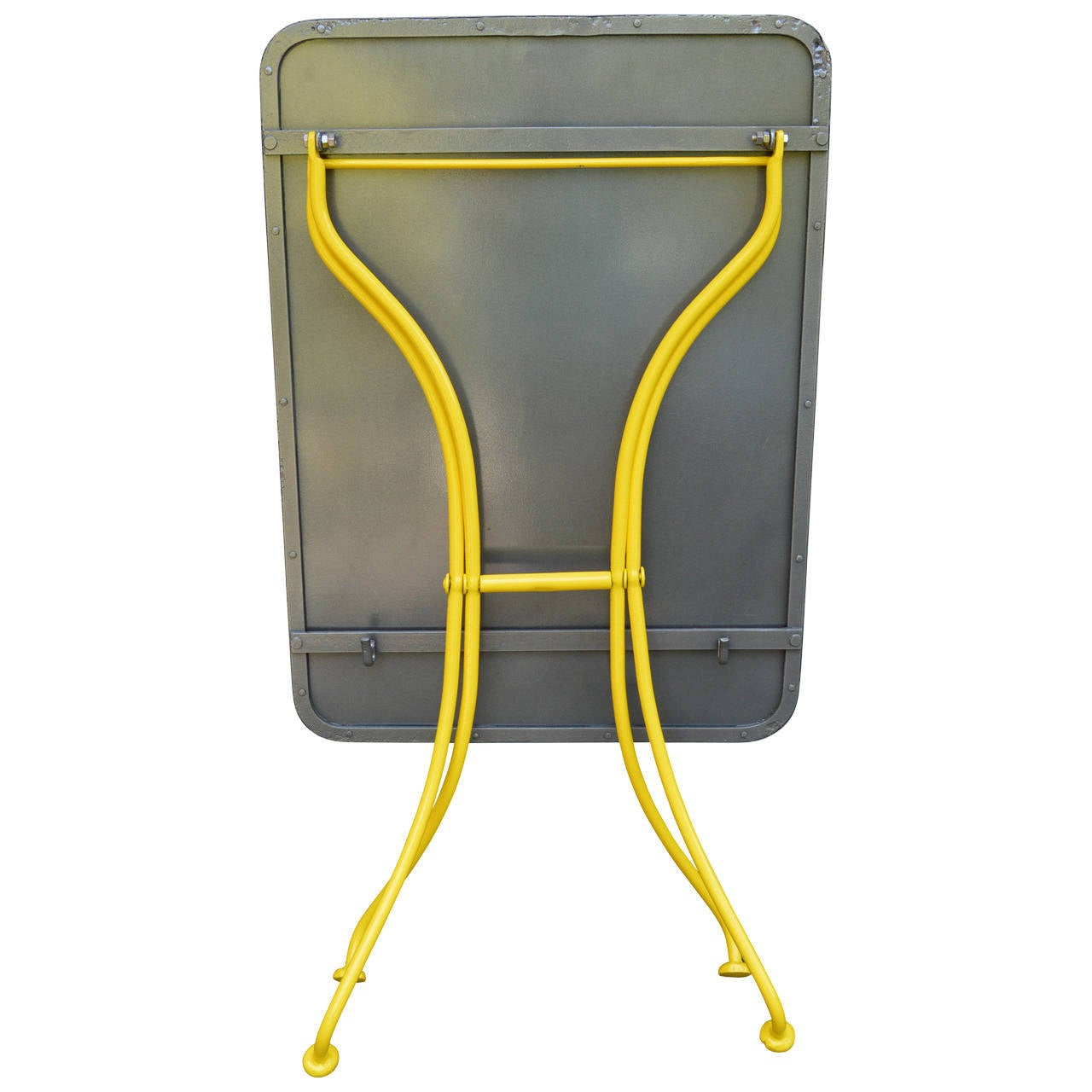 This is a very versatile table and is great for outdoor bar table, a small desk, console, plant table, additional dining area, etc. Folds for easy storage. Sturdy and solid. Table is is yellow with gunmetal top  Measurements when open: 29.25  H x