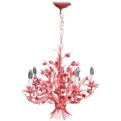 Vintage Italian Chandelier in Coral Pink