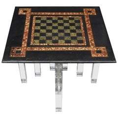Small Lucite And Black Slate Chess Board Side Table